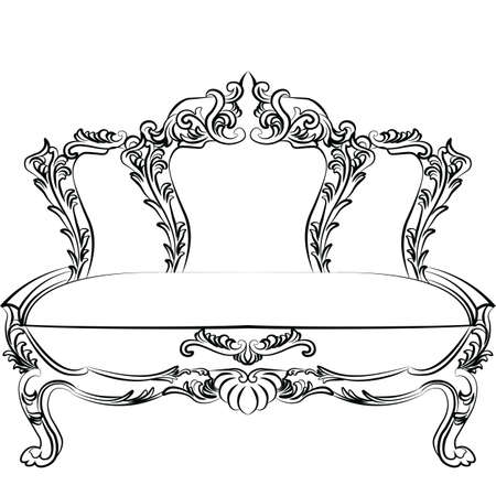 luxury furniture: Royal Baroque Vector Classic sofa furniture with  Ornate Luxury Acanthus ornaments. Vector sketch furniture
