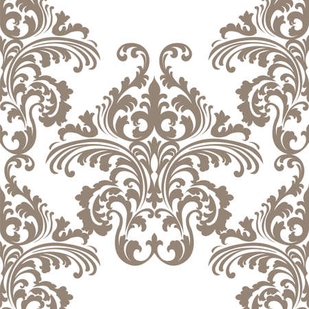 Vintage Vector Rococo Floral ornament damask pattern. Elegant luxury texture for wallpapers, backgrounds and invitation cards. Brown color ornament