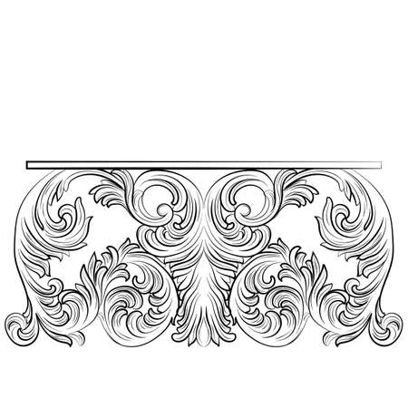 baroque room: Rich Baroque Table. French Luxury rich carved ornaments furniture. Vector Victorian Royal Style furniture