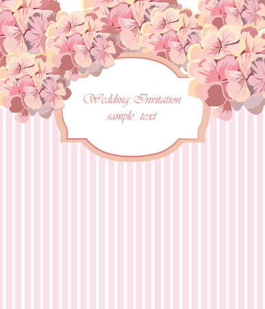 geranium color: Vintage Vector Card with Watercolor Geranium flower frame. Vector Traditional Retro style. Greeting card for wedding, birthday, Holiday and Summer Background. Vector illustration in Rose quartz color