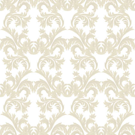 Vintage Baroque floral Damask pattern Vector. Luxury classic ornament. Royal Victorian texture for wallpaper, textile, fabric. Beige color Illustration