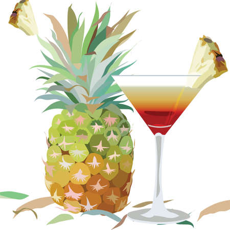 exotic fruit: Watercolor Pineapple and Cosmopolitan Cocktail Glass isolated on white background Vector