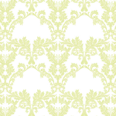 Vector Baroque Vintage floral Damask pattern. Luxury Classic ornament, Royal Victorian texture for wallpapers, textile, fabric. Luminary green color