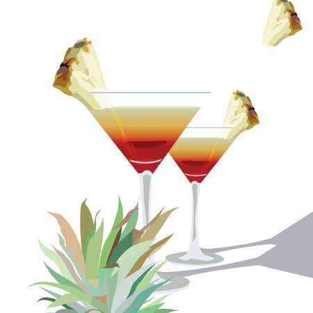 liqueur: Two Cocktail  Glasses Vector. Alcohol Cosmopolitan Cocktail decorated with Pineapple in martini Cocktail Glass.  Vector Watercolor Tropical Cocktails Liqueur Illustration