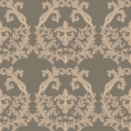 ベクトル バロック ヴィンテージ花ダマスク模様。高級クラシック飾り、壁紙、テキスタイル、ファブリックのロイヤル ビクトリア朝のテクスチャ  イラスト・ベクター素材