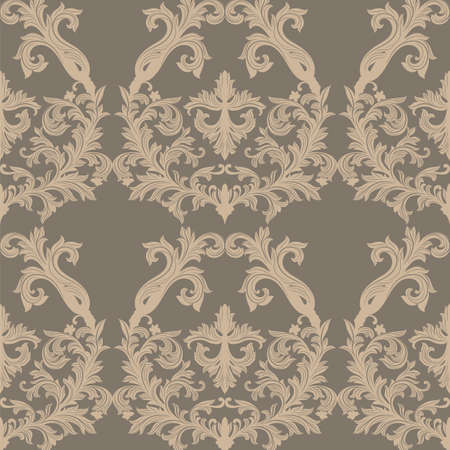 Vector Baroque Vintage floral Damask pattern. Luxury Classic ornament, Royal Victorian texture for wallpapers, textile, fabric. Taupe and gray color Vectores