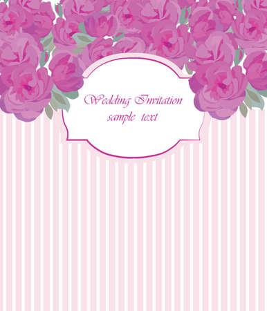 Vector Carte vintage avec aquarelle Rose fleurs cadre. Vector Traditional Retro carte de style. Carte de voeux pour mariage, anniversaire, vacances et Summer Background. Vector illustration dans des couleurs pastel
