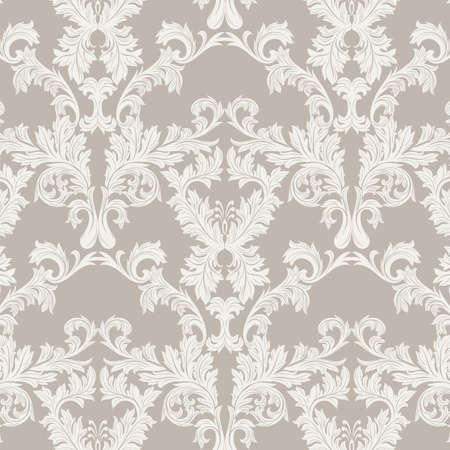 Vector Baroque Vintage floral Damask pattern. Luxury Classic ornament, Royal Victorian texture for wallpapers, textile, fabric. Taupe color 일러스트
