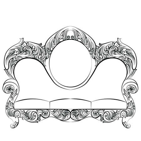 glamorous: Glamorous Rich Baroque Rococo Sofa set. French Luxury rich carved ornaments furniture. Vector Victorian exquisite Style couch Illustration
