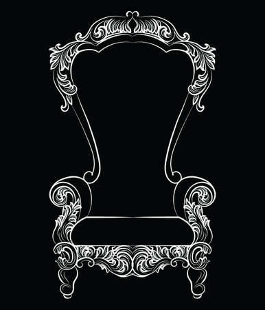 furniture detail: Fabulous Rich Baroque Rococo Armchair. French Luxury rich carved ornaments furniture. Vector Victorian exquisite Style ornamented chair