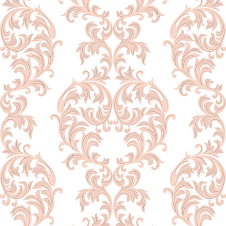 revive: Vector Baroque Vintage floral Damask pattern. Luxury Classic ornament, Royal Victorian texture for wallpapers, textile, fabric. Rose quartz color Illustration