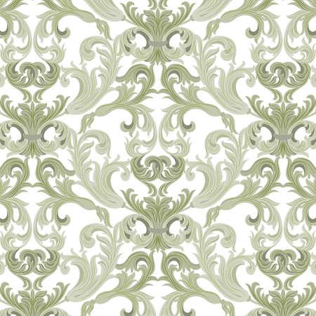 Vector damascato ornamento. Exquisite modello elemento barocco. lusso classico stile damasco ornamento, reale consistenza vittoriana per sfondi, tessile, confezionamento. colore verde Lint