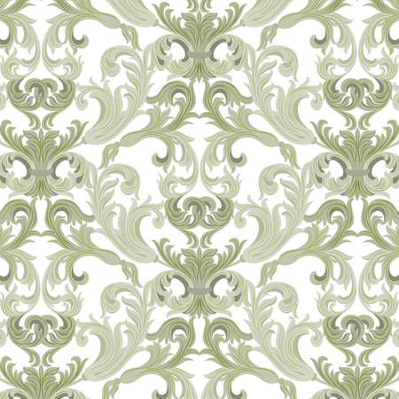 Vector damask pattern ornament. Exquisite Baroque element template. Classical luxury fashioned damask ornament, Royal Victorian texture for wallpapers, textile, wrapping. Lint green color