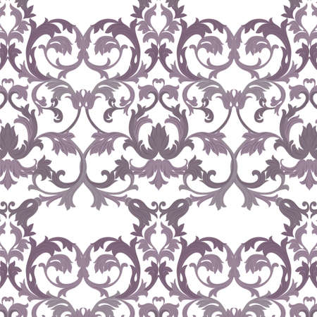 revive: Vector damask pattern ornament. Exquisite Baroque element template. Classical luxury fashioned damask ornament, Royal Victorian texture for wallpapers, textile, wrapping. lavender color Illustration