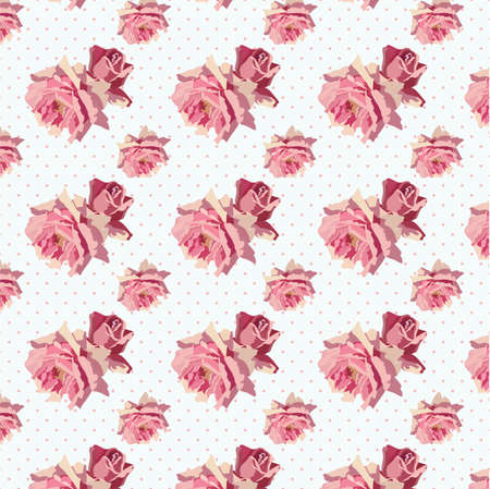 background textures: Watercolor Delicate Roses pattern. Vector rose flower pattern on dotted background. Rose quartz color