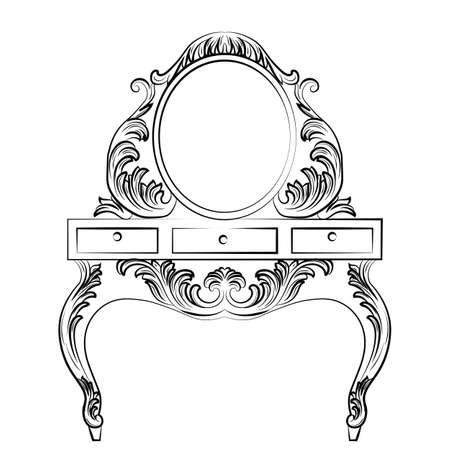 baroque furniture: Vector Baroque furniture Dressing Table and Round mirror frame. French Luxury rich carved ornaments furniture. Victorian Royal Style furniture