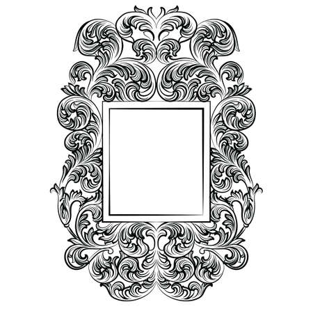 furniture detail: Vintage Imperial Baroque Rococo frame. Vector French Luxury rich carved ornamented Wall Frame. Victorian wealthy Style structure