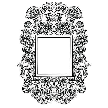 Vintager Kaiser Barock Rokoko-Rahmen. Vector Französisch Luxus reich geschnitzt verzierten Wandrahmen. Viktorianischen Stil reichen Struktur