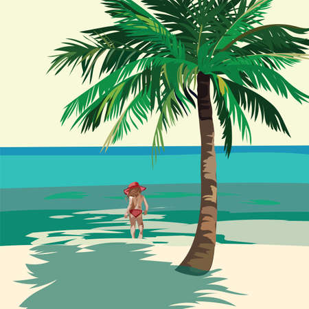 little girl beach: Little Girl playing at the beach. Kid running on the beach. Vector illustration  in Watercolor