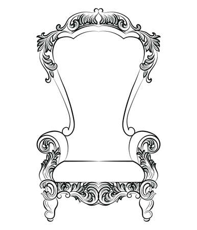 ornamented: Fabulous Rich Baroque Rococo Armchair. French Luxury rich carved ornaments furniture. Vector Victorian exquisite Style ornamented chair