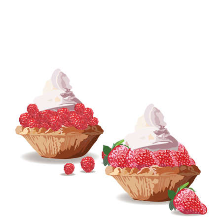 cream cheese: Tart cakes with strawberry and raspberry. Vector Delicious realistic illustration