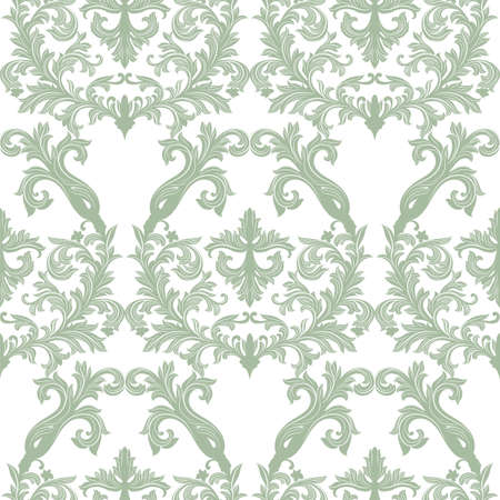 revive: Vector Baroque Vintage floral Damask pattern. Luxury Classic ornament, Royal Victorian texture for wallpapers, textile, fabric. Lint green color Illustration