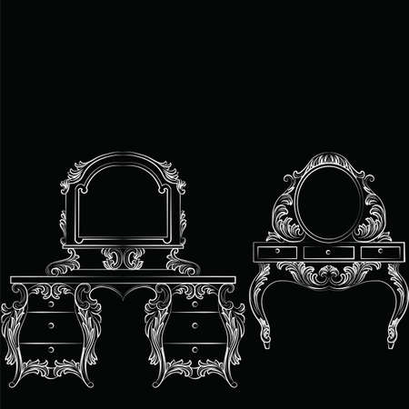 baroque furniture: Vector Baroque furniture set Dressing Table and mirror frame. French Luxury rich carved ornaments furniture.Victorian Royal Style furniture. White on black Illustration