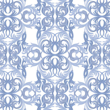 intricacy: Vector damask pattern ornament. Exquisite Baroque element template. Classical luxury fashioned damask ornament, Royal Victorian texture for wallpapers, textile, wrapping. Blue color ornament