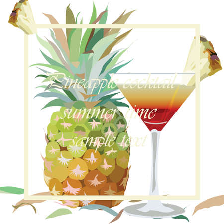 pine apple: Watercolor Pineapple and Cosmopolitan Cocktail Glass isolated on white background Vector