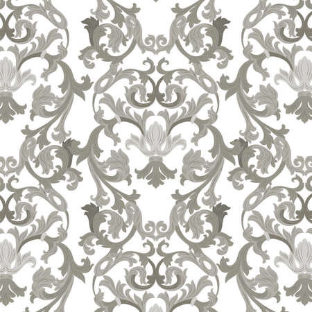 revive: Vector damask pattern ornament. Exquisite Baroque element template. Classical luxury fashioned damask ornament, Royal Victorian texture for wallpapers, textile, wrapping. Gray ornament