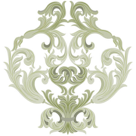 lint: Vector damask ornament. Exquisite Baroque template. Classical luxury fashioned damask ornament, Royal Victorian texture for wallpapers, textile, wrapping. Lint green color ornament
