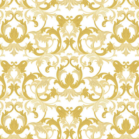 intricacy: Vector damask pattern ornament. Exquisite Baroque element template. Classical luxury fashioned damask ornament, Royal Victorian texture for wallpapers, textile, wrapping. Gold color ornament