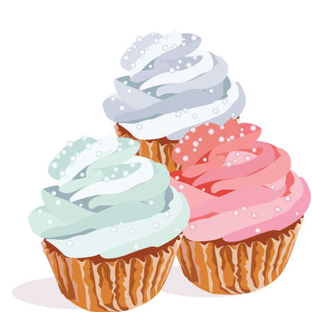 cupcakes isolated: Cupcakes isolated on white background Vector. Colorful delicious dessert background illustration