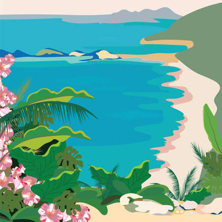 tropics: Exotic Paradise Beach. Summer Beach Tropics with Palm trees and flowers. Vector background card Illustration