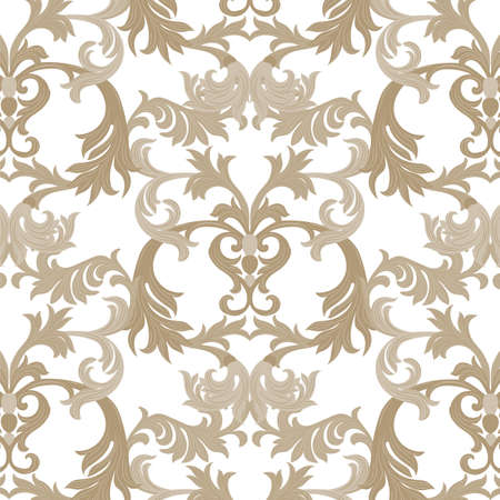 revive: Vector damask pattern ornament. Exquisite Baroque element template. Classical luxury fashioned damask ornament, Royal Victorian texture for wallpapers, textile, wrapping. Almond beige pattern