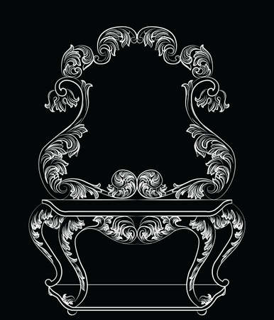 baroque furniture: Vector Baroque furniture Dressing Table and mirror frame. French Luxury rich carved ornaments. Victorian Royal Style ornamented set Illustration