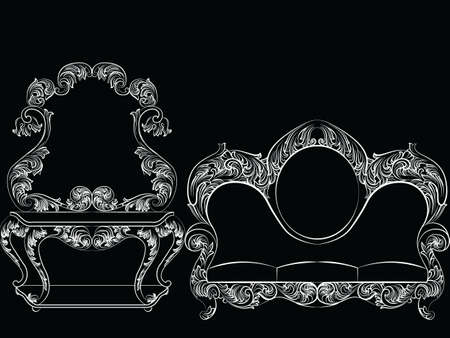 baroque room: Glamorous Rich Baroque Rococo Furniture set. French Luxury rich carved ornaments furniture. Vector Victorian exquisite Style decor