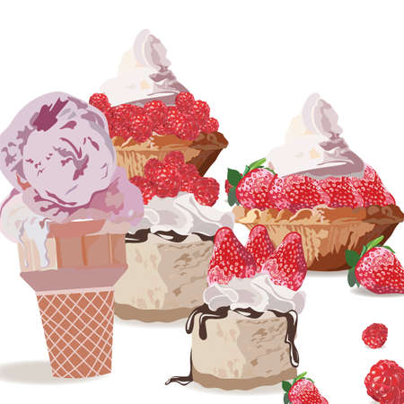 sweet treats: Sweet treats delicious ice cream and cakes. Vector realistic strawberry and raspberry fruit cakes illustration Illustration