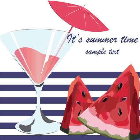 and technique: Watermelon and Cocktail Juice Glass, Summer Time card with Juicy Watermelon fruit in watercolor technique Vector Illustration