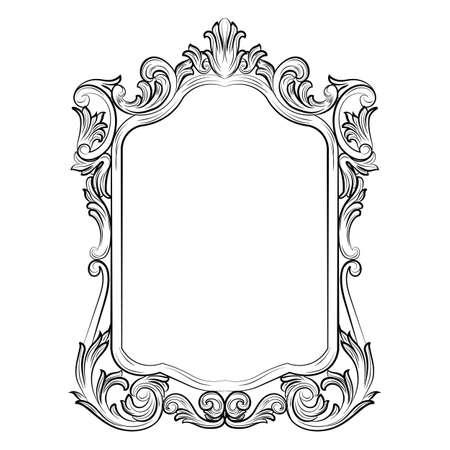 Barroco rococó Espejo la decoración del marco. Vector de lujo francesa ricos ornamentos tallados y marcos de la pared. Victorian marco real Estilo