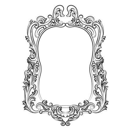 mirror and frame: Baroque Rococo Mirror frame decor. Vector Luxury Rich carved Frame. Victorian Style frame