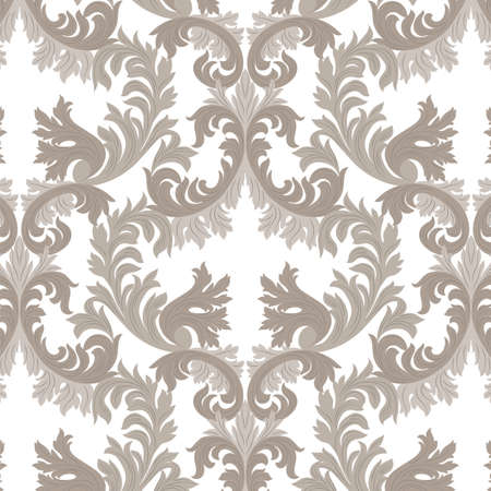 rich wallpaper: Vintage Rich Baroque floral Damask pattern Vector. Luxury classic ornament. Royal Victorian texture for wallpaper, textile, fabric. Beige color