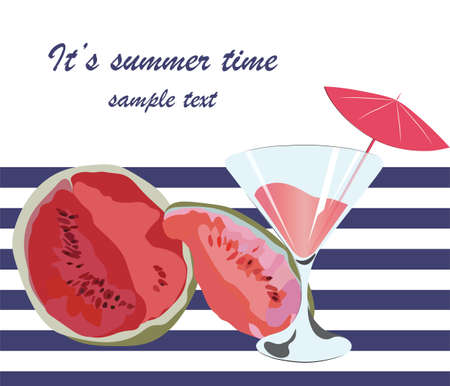 watercolor technique: Watermelon and Cocktail Juice Glass, Summer Time card with Juicy Watermelon fruit in watercolor technique Vector Illustration