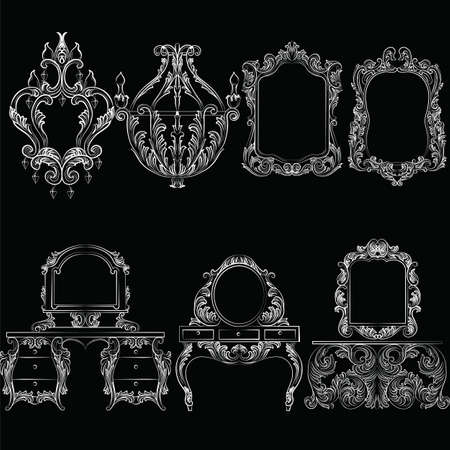 baroque furniture: Vector Baroque furniture set. French Luxury rich carved ornaments furniture.Victorian Royal Style furniture. White on black