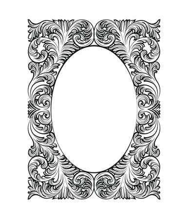 baroque room: Vintage Imperial Baroque Rococo frame. Vector French Luxury rich carved ornamented Wall Frame. Victorian wealthy Style structure
