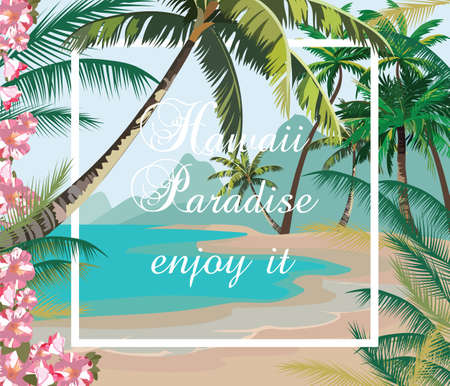 paradise beach: Tropical Exotic Paradise Beach. Summer Beach with Palm trees and flowers. Vector background card