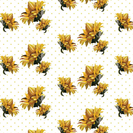 provence: Watercolor Vintage Sunflower pattern background. Vector flower pattern on dotted background. Vintage Provence Shabby chic style pattern