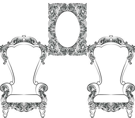baroque furniture: Glamorous Rich Baroque Rococo Furniture set. French Luxury rich carved ornaments furniture. Vector Victorian exquisite Style decor