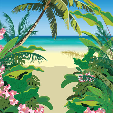 Exotic Paradise Beach. Summer Beach Tropics with Palm trees and flowers. Vector background card