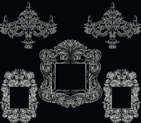 glamorous: Glamorous Rich Baroque Rococo Furniture set. French Luxury rich carved ornaments accesories. Vector Victorian exquisite Style decor collection Illustration
